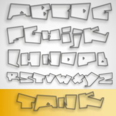 Transparent Graffiti font alphabet