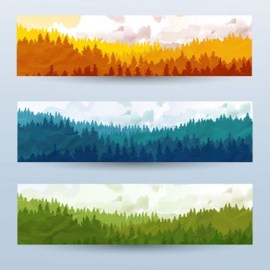 Horizontal abstract banners of hills