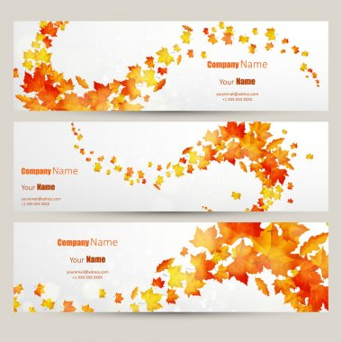 set of colorful autumn leaves banners