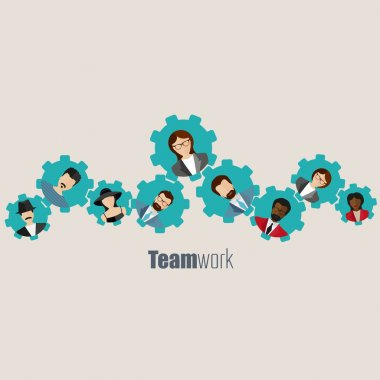Flat teamwork, togetherness concept