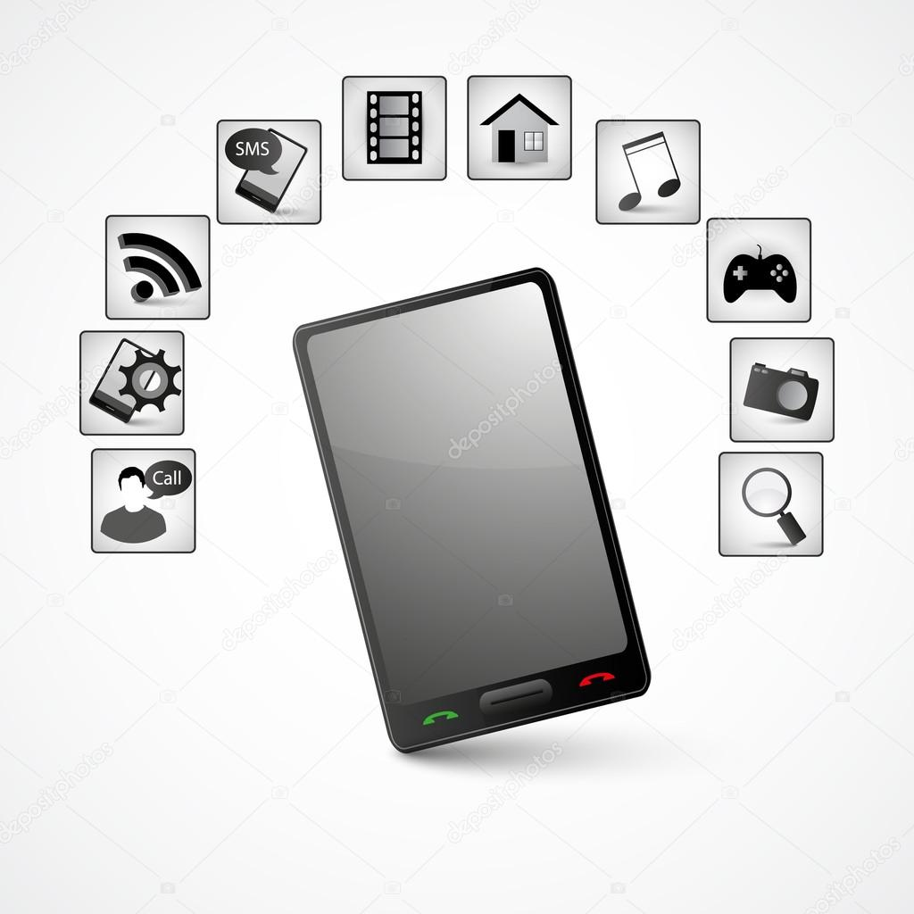 smartphone with application software icons