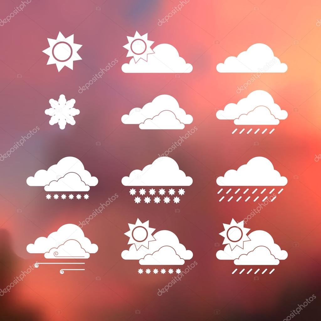 Weather Icons on blurred background