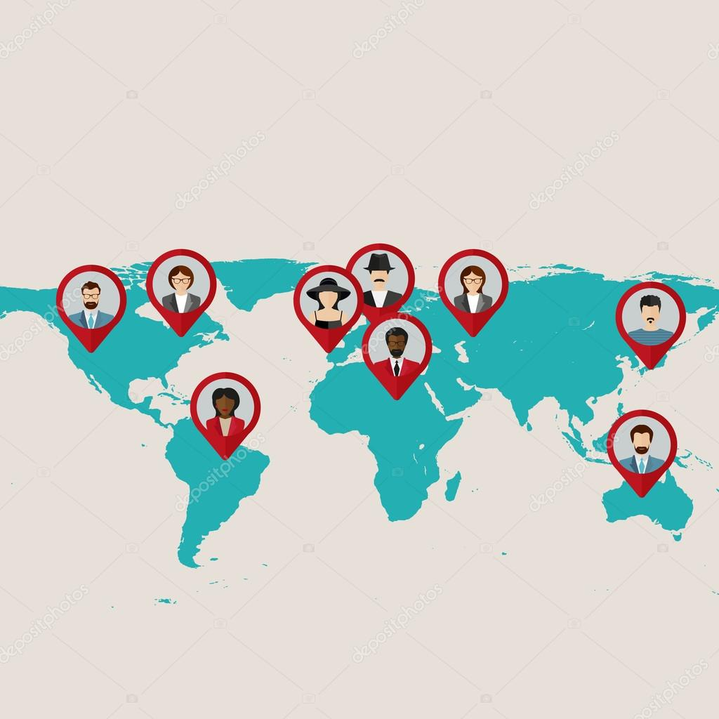Flat World Map With Tags, Points And Destinations With Flat Faces Avatar U2014  Stock Vector