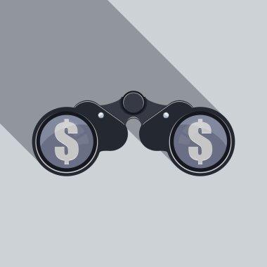 Binoculars Icon with dollar sign.
