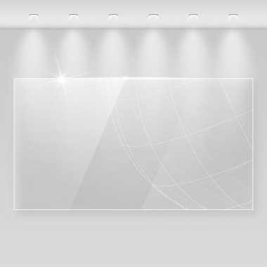 Elegant realistic glass frame on a wall with lights