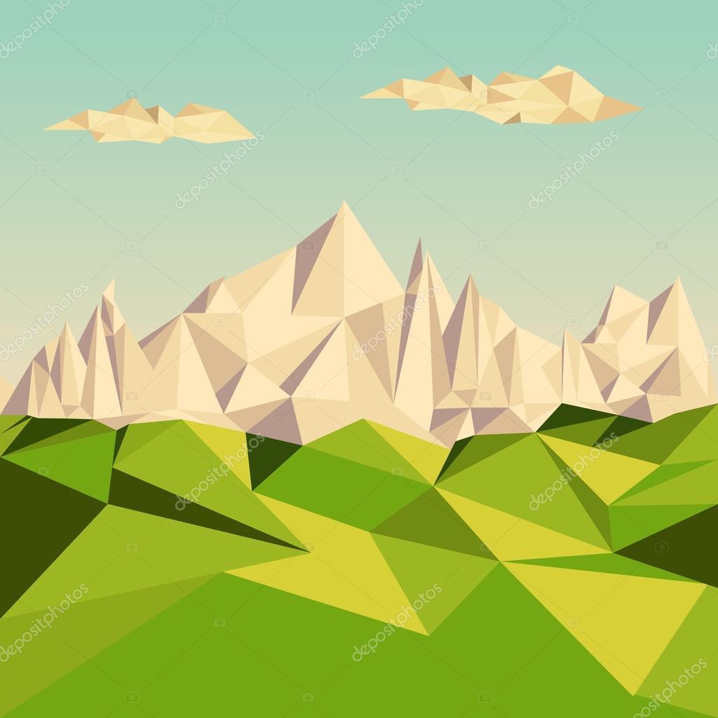 Polygonal background, Mountainous terrain