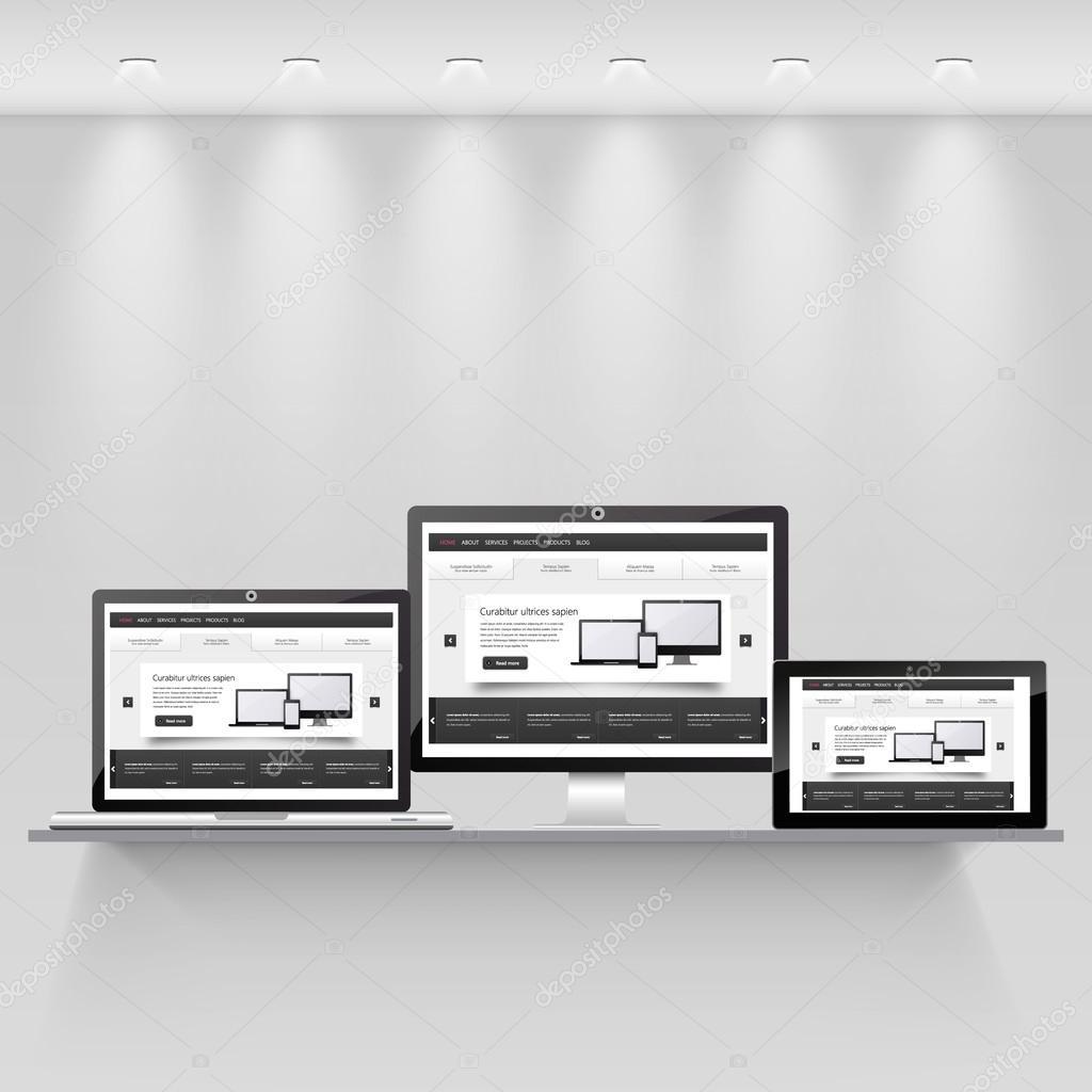 plantilla web sensible — Archivo Imágenes Vectoriales ...