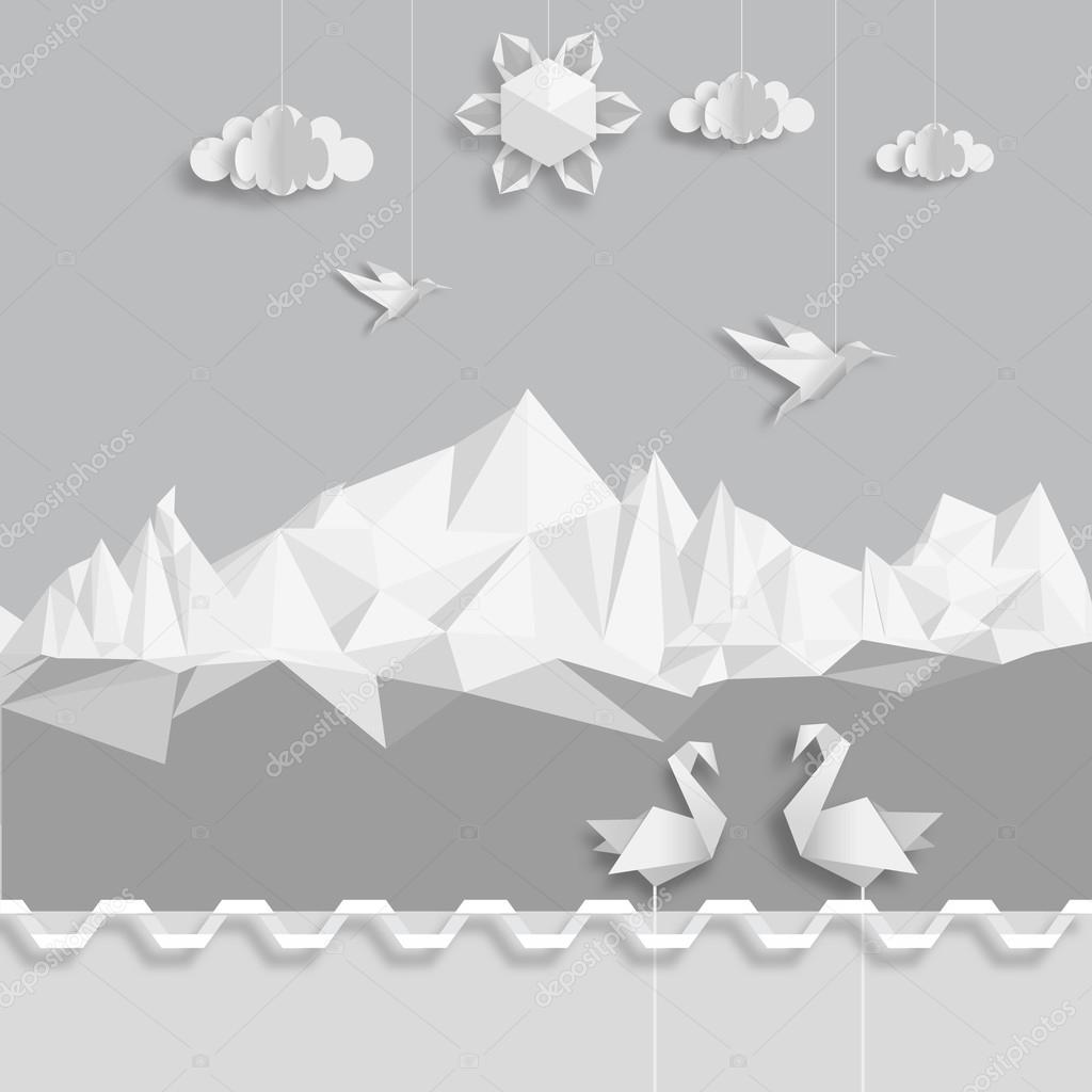 Realistic illustration, of origami clouds, birds and sun