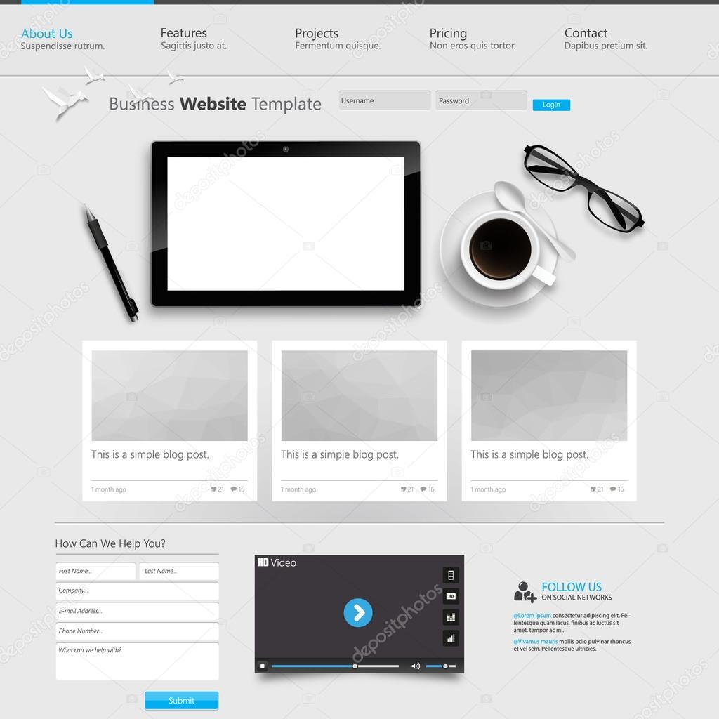 Website-Vorlage-design — Stockvektor © Droidworker #87648560