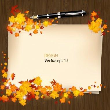 Autumn design white blank paper