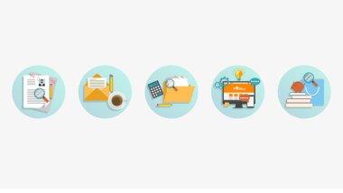 Set of modern flat business graphics elements