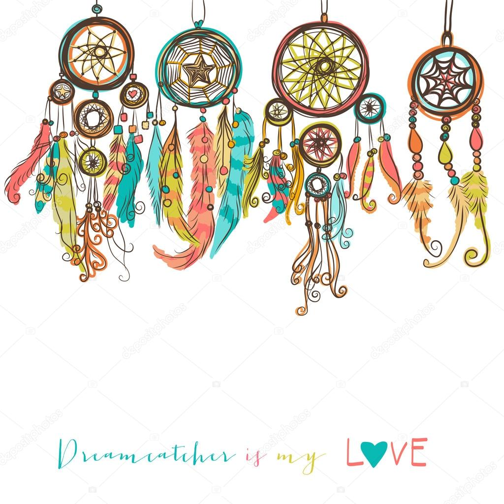Beautiful vector illustration with dream catchers. Colorful ethnic, elements