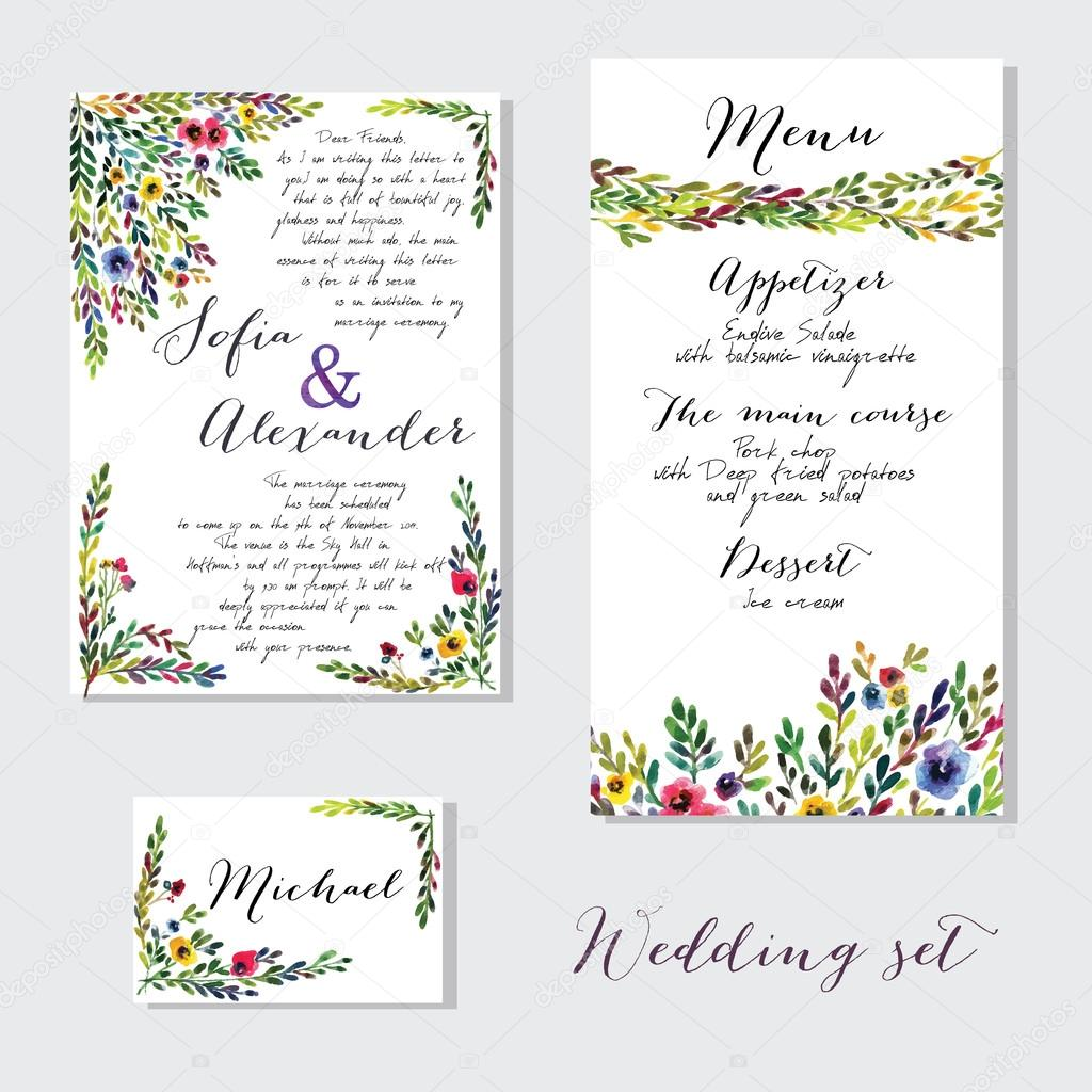 Vector set of invitation cards with watercolor flowers elements