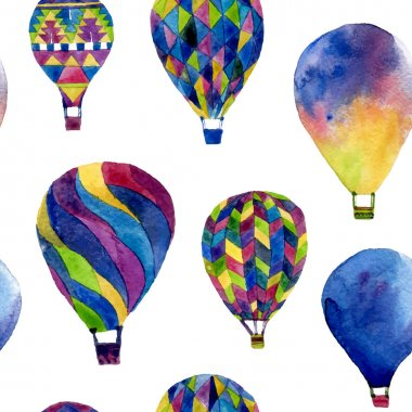 Watercolor seamless pattern with hot air balloon. Hand drawn vintage collage illustration in ethnic style. Vector background texture isolated on white clip art vector