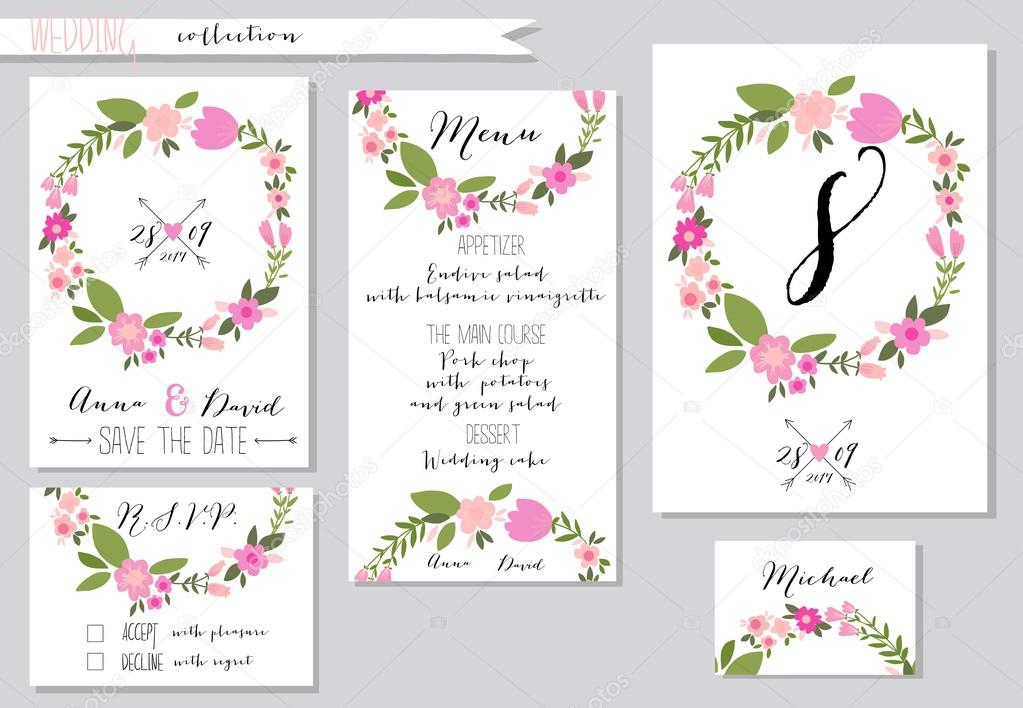 Vector illustration.Collection of wedding invitation templates w