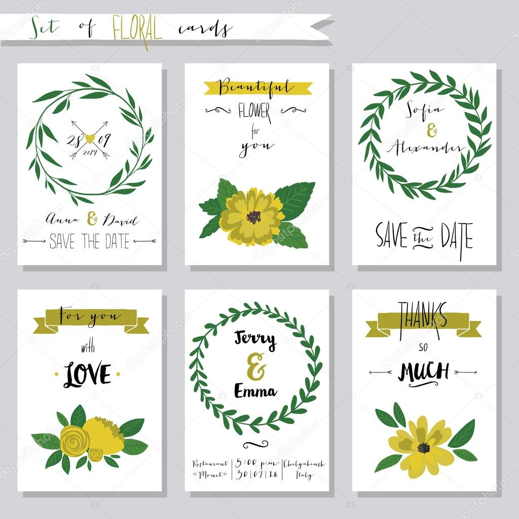 Vector illustration.Collection of cute card templates with flowers