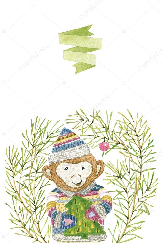 Watercolor illustration with monkey. Cute hand drawn animal