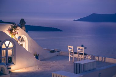 Romantic dinner on Santorini island, Greece