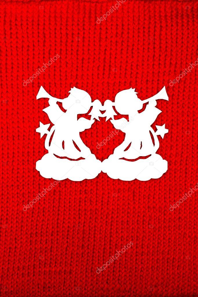 Angeli Di Natale Di Carta Su Priorità Bassa Lavorata A Maglia Foto