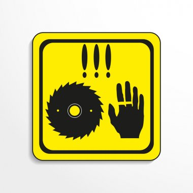 Danger sign. Circular saw. Vector icon.