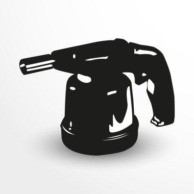 Gas burner. Vector illustration. Black and white view.