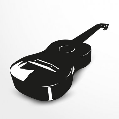 Acoustic guitars. Vector illustration. Black and white view.