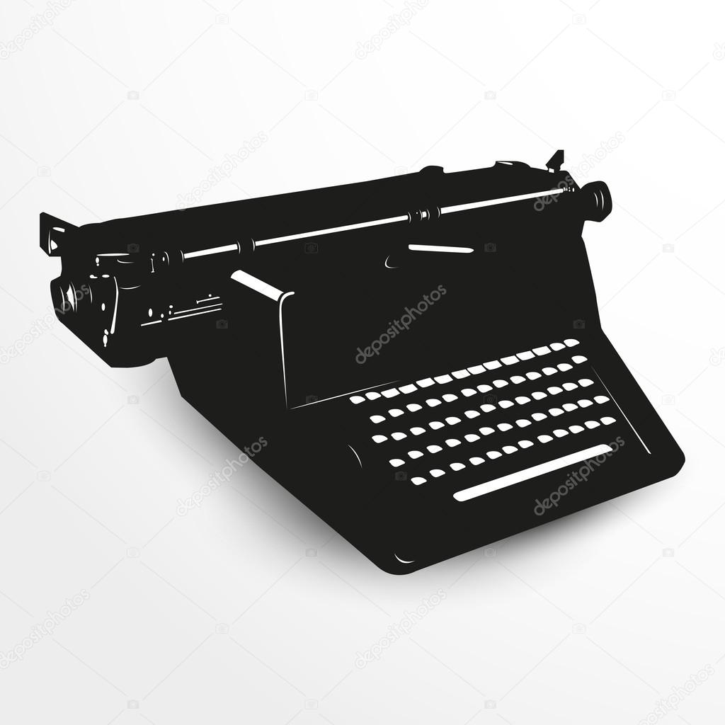 Old typewriter. Vector illustration. Black and white view.