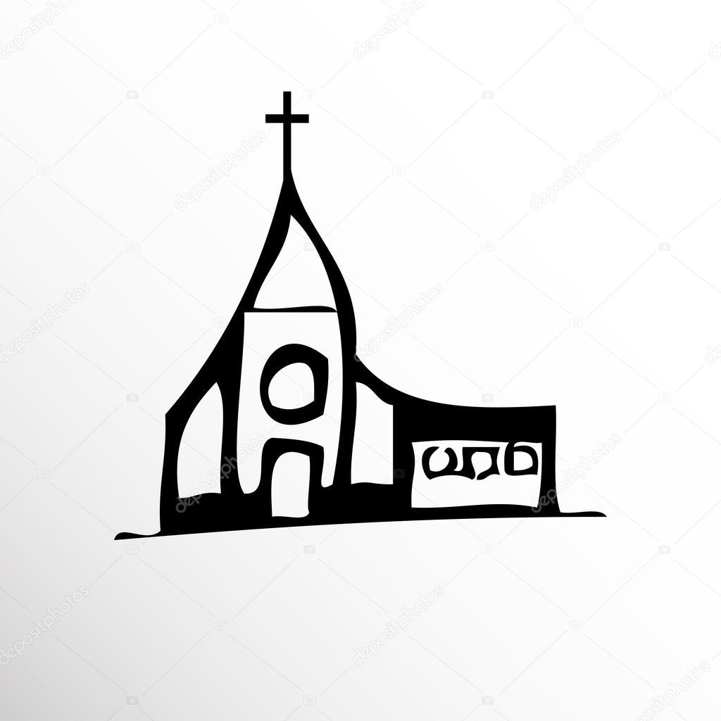 Kirche. Zeichnung. Skizzieren Sie Stil. Bedingte Vektor-Bild im Stil ...