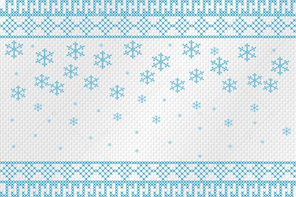 Figura bordado cruzado sobre un paño áspero. Los copos de nieve y ...