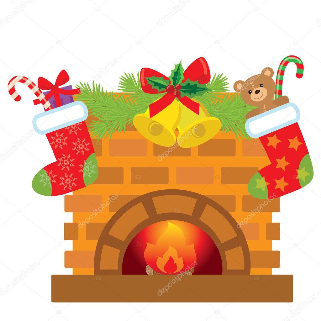 Dibujos Chimeneas De Navidad.Ilustracion Dibujos Animados Navidad Chimenea Vector