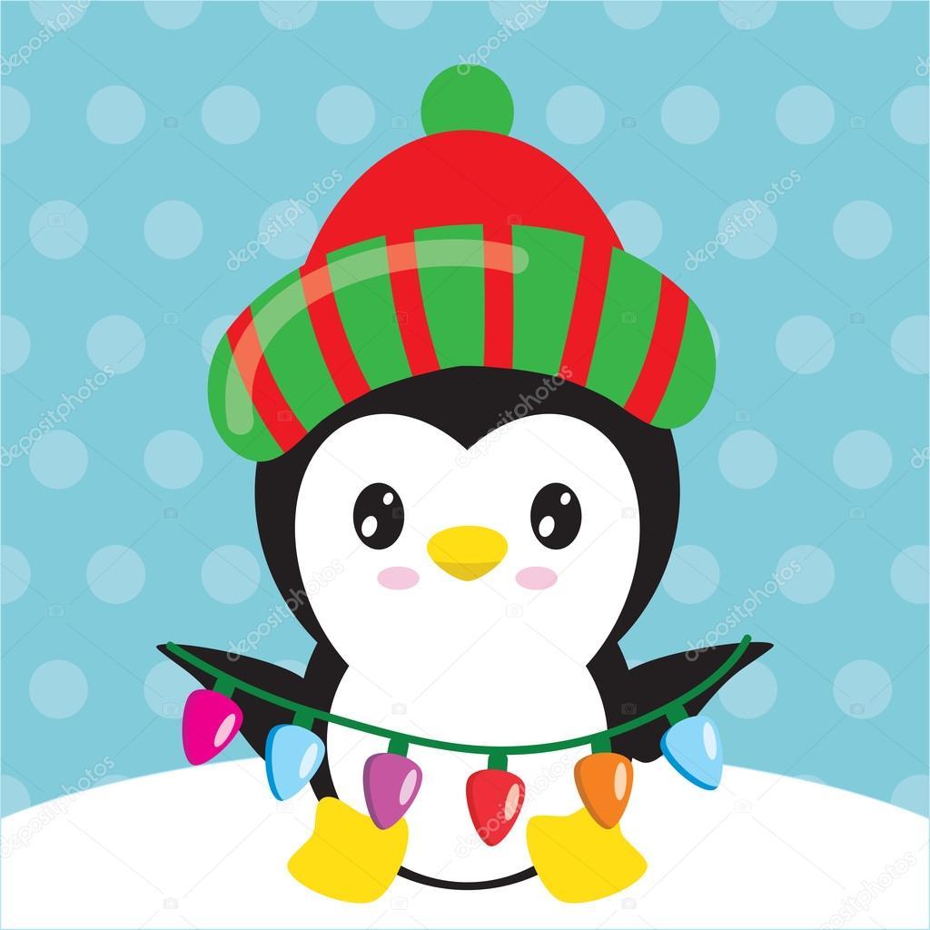 Vector Pinguino Navidad Ilustración De Vector De Pingüino De