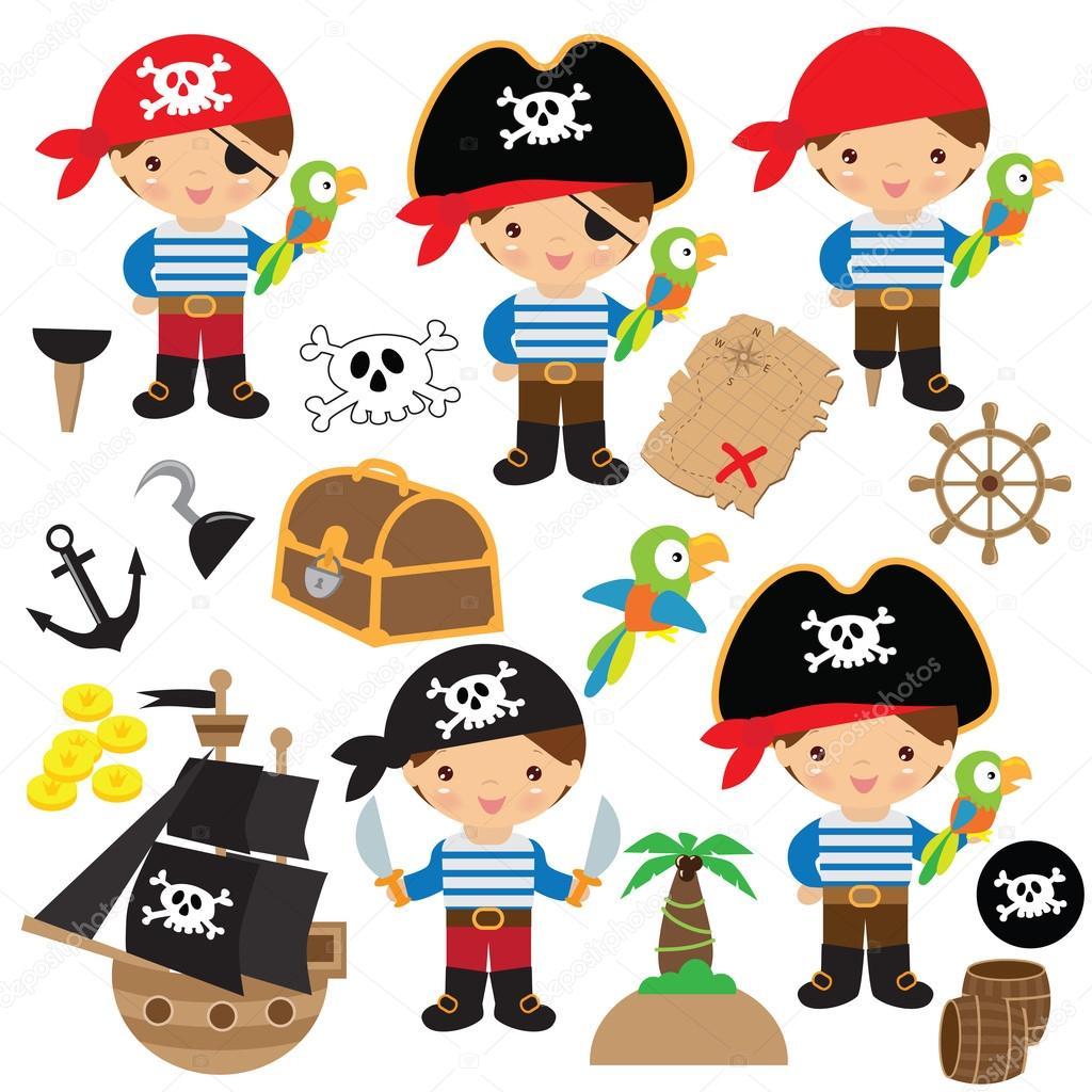 Cute pirate boy vector illustration — Stock Vector ...