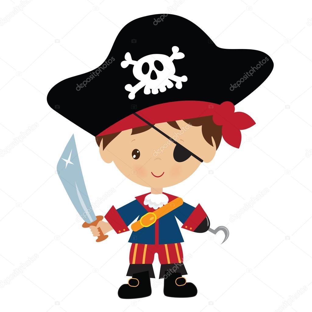 Ilustração Em Vetor Pirata Bonito Menino