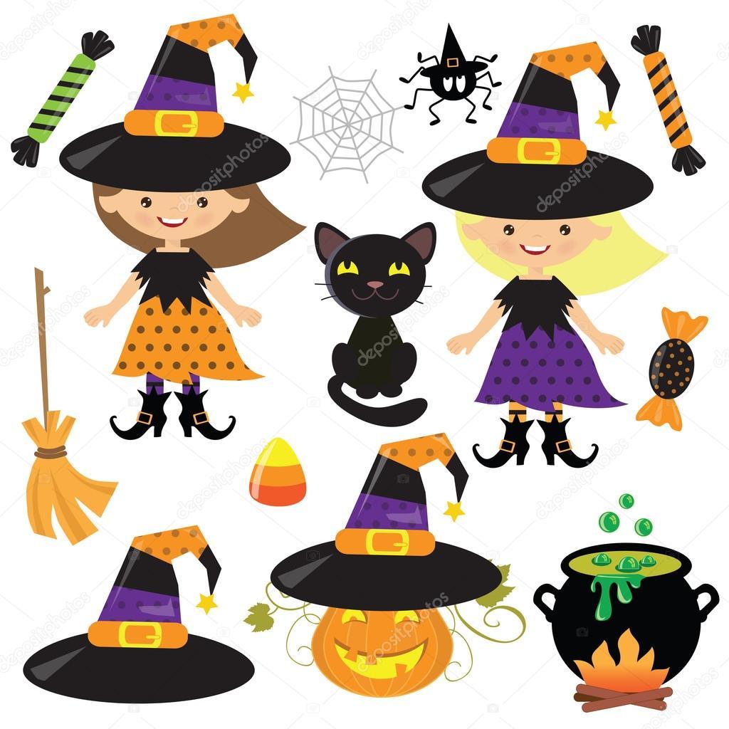 Halloween Witch Vector Cartoon Illustration Stock Vector