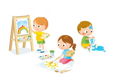 children drawing illustration