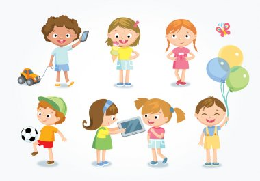 cute kids in a simple style