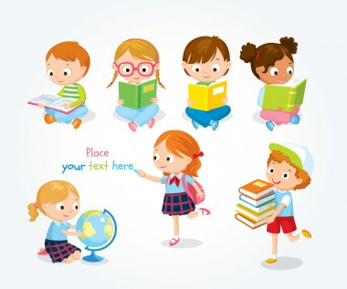 cute children reading books