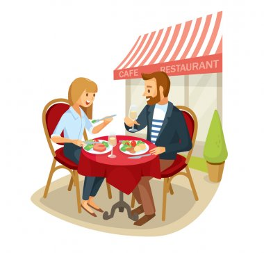couple having dinner in street cafe