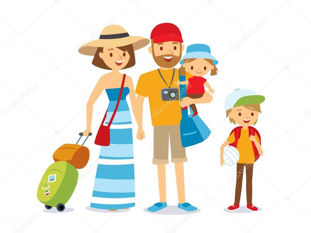 Vector Feliz Viaje Familia: Familia En Ilustración De Vacaciones