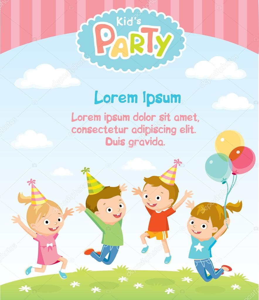 children s party invitation stock vector olga1818 110337972