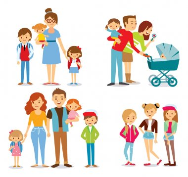 family and kids illustration