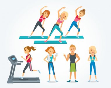 people work out in fitness club