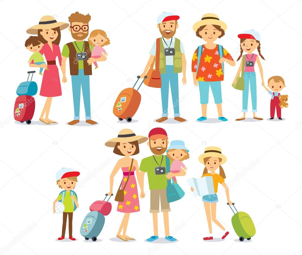 traveling family on vacation