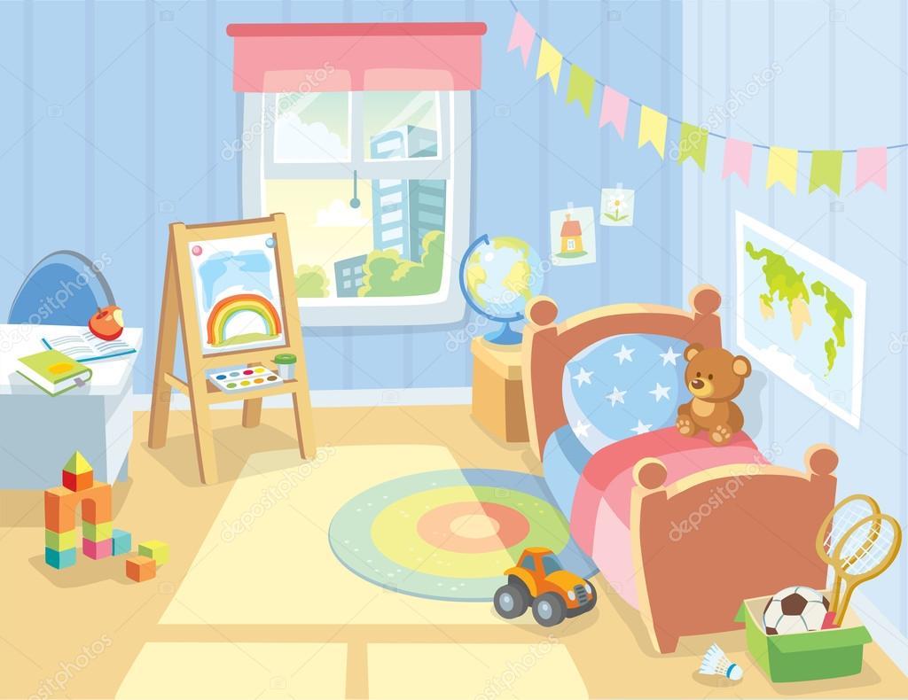 Kinder slaapkamer interieur met gezellige — Stockvector © olga1818 ...