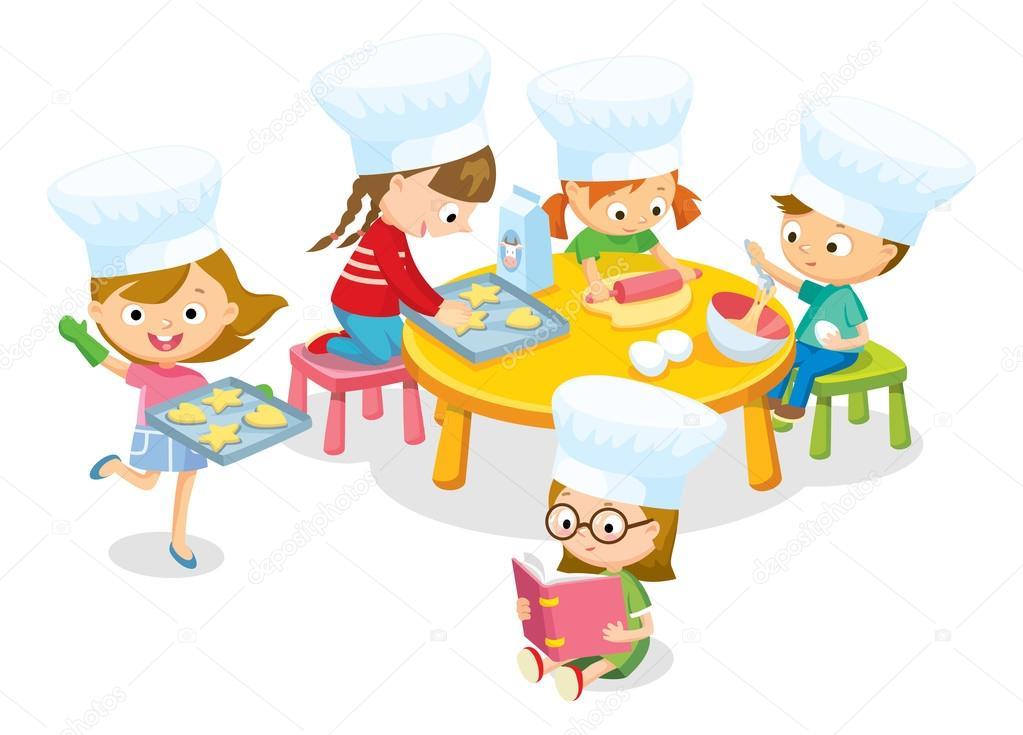 Słodkie Dzieci Gotowania Cookies Grafika Wektorowa Olga1818