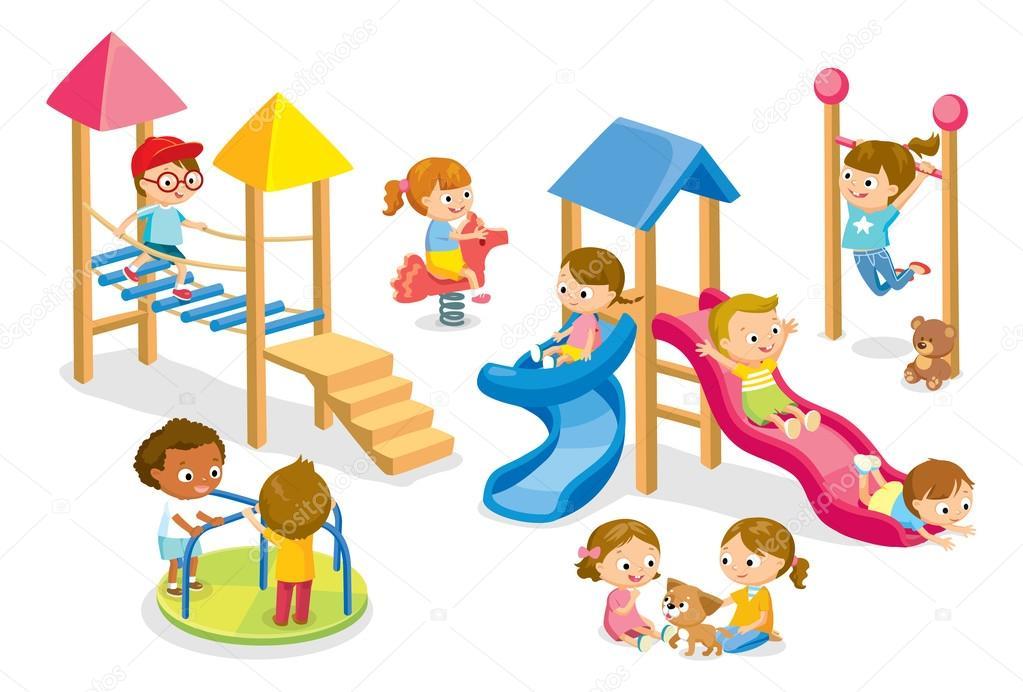 crianas brincando no playground vetor de stock