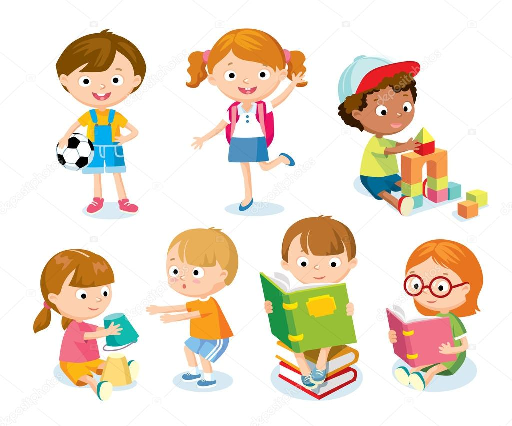 Cute Kids With Toys And Books Stock Vector C Olga1818 79263078