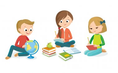 pupils boy and girls with book study