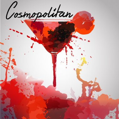 Cosmopolitan cocktails drawn watercolor blots and stains with a spray, including recipes and ingredients on the background of crumpled paper