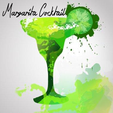 Illustration with hand drawn Margarita cocktail
